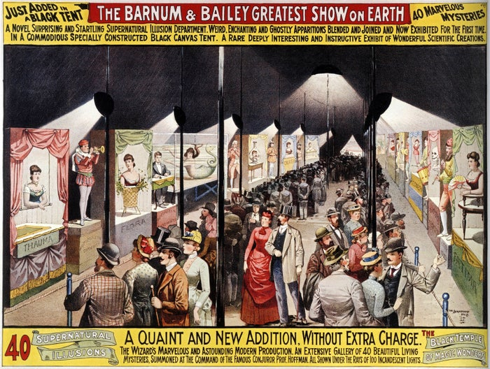 "A 1898 poster for the Barnum & Bailey Circus promoting their ""supernatural illusions"" under the black tent."