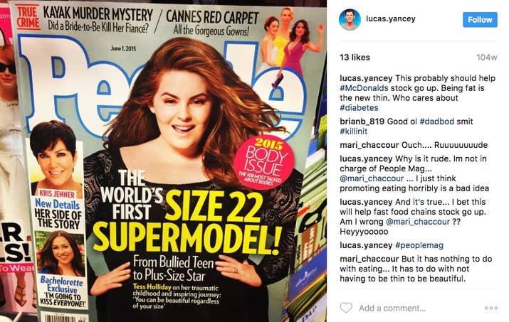 Lucas Yancey bodyshaming Instagram