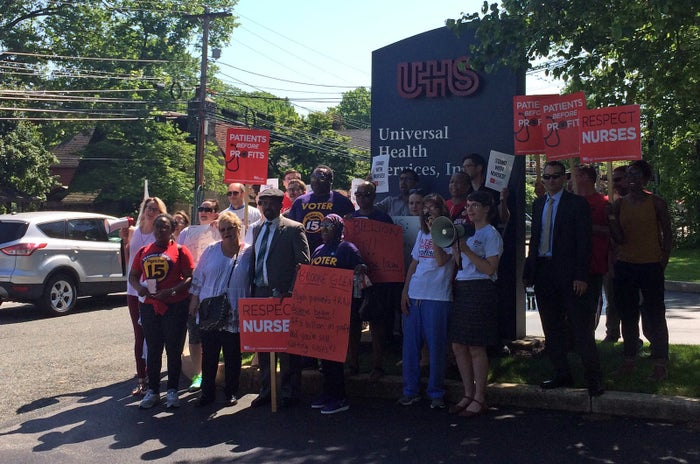 Nurses protesting outside the UHS headquarters in Pennsylvania last week.
