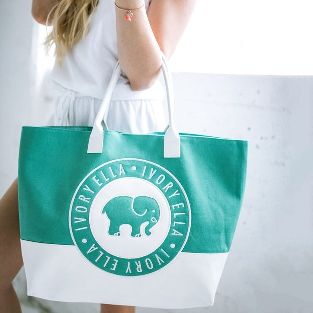 This green-and-white large beach tote.