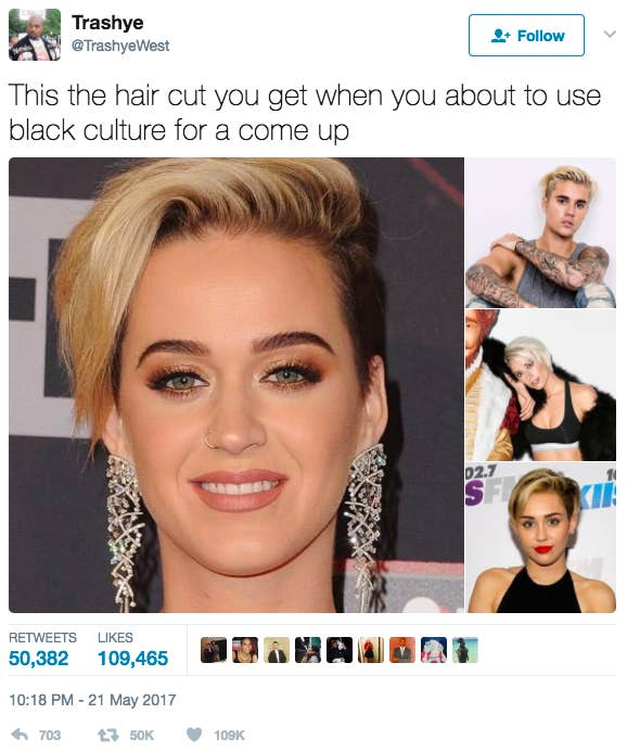 What do Katy Perry, Justin Bieber, and Miley Cyrus all have in common? According to Twitter user @TrashyeWest, a certain haircut.