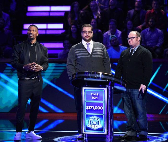 Jamie Foxx with contestants on the new show Beat Shazam.