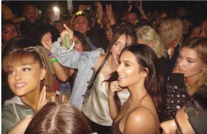 Kim Kardashian, Kendall Jenner and Ariana Grande at a concert