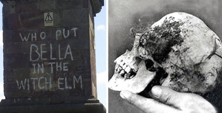 """En abril de 1943, un grupo de chicos encontraron una calavera en un árbol de Hagley Wood, Worcestershire (Inglaterra), lo que llevó al hallazgo de un esqueleto que llevaba en descomposición un año y medio. Poco después, apareció una pintada cerca que decía """"QUIÉN PUSO A BELLA EN EL OLMO DE LA BRUJA"""". Aún no se sabe la identidad de la mujer ni la causa de la muerte.—Jordan Christine, Facebook"""
