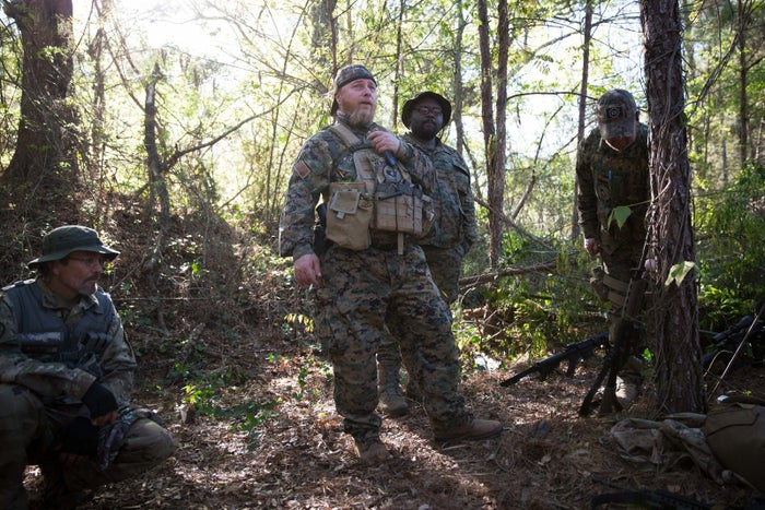 Chris Hill, whose call sign is Blood Agent and who is the commanding officer of Georgia Security Force III% militia, prepares to go through a training course built for the group on private property near Jackson, Georgia, on April 1, 2017.