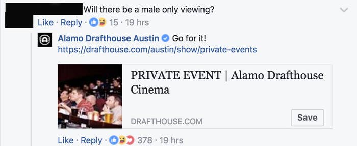 People Love How This Theater Responded To Men Who Were Upset