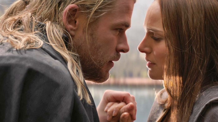 Chris Hemsworth as Thor and Natalie Portman as Jane Foster