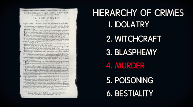 Before we get into our trip, let's go over some of Salem's history. For starters, there was the Puritan Legal Code that was created in 1647 and established a hierarchy of crimes that consisted of: