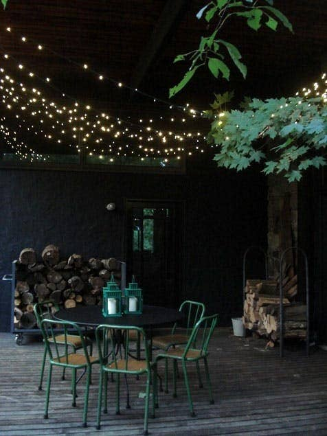 See this patio on Apartment Therapy. Get solar powered string lights on Amazon for $16.99.