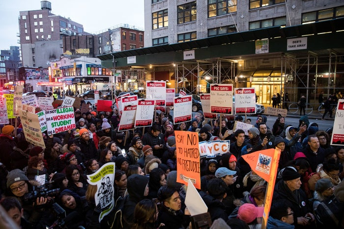Immigrants and supporters rally in New York City in February.