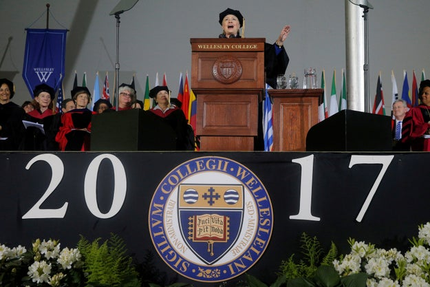 Hillary Clinton gave a commencement speech to this year's graduating class at Wellesley College on Friday. It was passionate, political, and very, very shady — specifically to one sitting president who's been embroiled in some stuff lately.