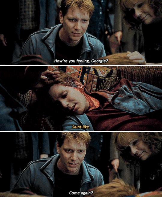 """""""¿Por qué Fred? ¿Por qué un gemelo? Duele tanto imaginar a George en esa escena, esperando que su gemelo siguiera con vida. Imagina a los Weasley en la Madriguera de luto por Fred. Imagina a George mirando la cama vacía de Fred pensando en Fred acostado allí. Me rompe el corazón cada vez que leo o veo su muerte. Aún sigo llorando. Algunas muertes no se pueden superar y la de Fred es una de ellas"""".– abucketihave"""
