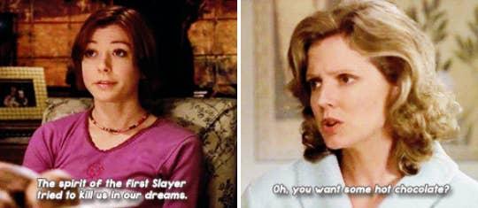 """""""Durante cuatro años, Buffy peleaba contra el mal y el horror, pero lo único que no podía derrotar era algo completamente natural. Siempre me rompe el corazón y se me saltan las lágrimas solo de pensarlo. ¡Y cada vez es más y más triste! Willow llorando por no poder controlar su crecimiento, Xander golpeando la pared y la pobre Anya sin poder entender cómo Joyce se acaba de ir porque nadie se lo explicará. Totalmente devastador"""". – laurenh86"""