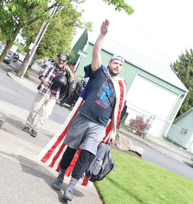 """Throughout the march, he reportedly shouted racial slurs and """"Hail Vinland,"""" gave the Nazi salute, and raved about being a nihilist."""