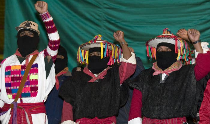 (The masks, by the way, are a symbol of the Zapatista indigenous rights movement, and are meant both to keep its members anonymous and evoke indigenous Mexicans' status as invisible and faceless.)