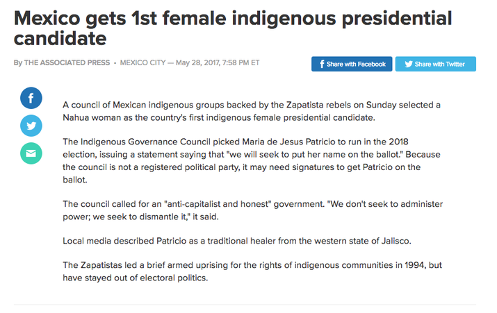Medios internacionales, como Associated Press o The New York Times, ya han destacado la participación de una mujer indígena en el panorama político de México.