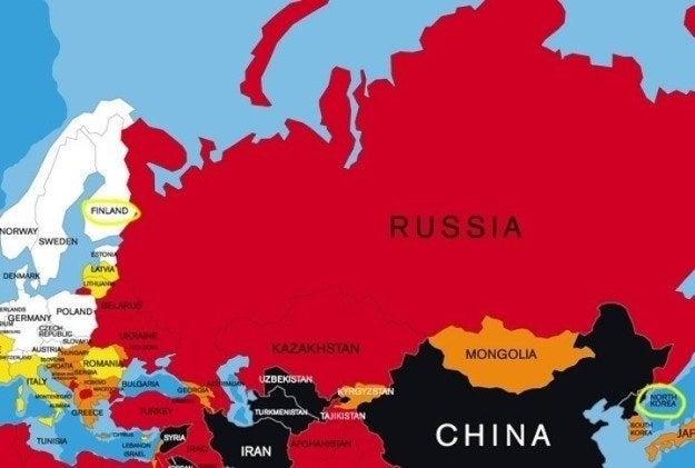 Russia shares a small land border with North Korea.