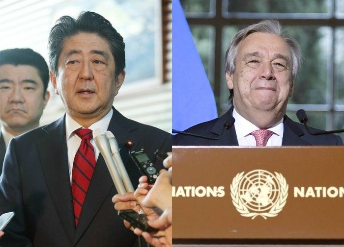 懇談は5月27日、G7サミットのあったイタリア・シチリア島で開かれたものだ。外務省は同日付けで、「安倍総理大臣とグテーレス国連事務総長との懇談」との文書を発表。一方の国連は28日、「特派員へのお知らせ」という短いプレスリリースを出している。