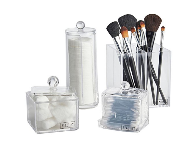 """Promising review: """"They blend in well with my existing makeup organizers. Great addition to my vanity display."""" --TiaGet it from Amazon for $25.95 (down from $49.99). Available in two colors."""