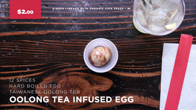 The first place the duo hit up was Lao Tao, a Taiwanese street food restaurant, where they tried an Oolong tea-flavored egg. They paired it with the house's ginger limeade with organic chia seeds.