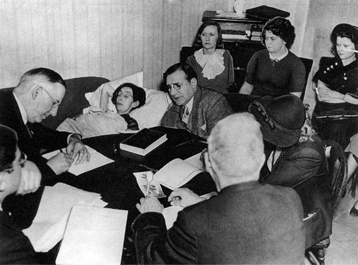 The bedside hearing at Catherine Donohue's home.