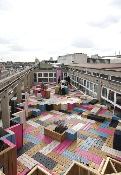 This colorful herringbone rooftop at the London College of Fashion: