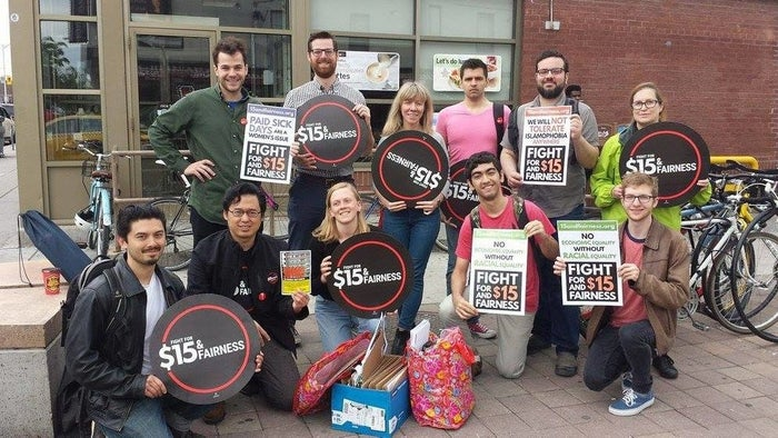 """Since then, the Fight For $15 movement has expanded across North America, winning commitments for higher wages in cities and states including Seattle, New York, and California.One significant hurdle for Ontario's $15 minimum wage hike might be the next provincial election, scheduled for June of 2018. Kathleen Wynne's Liberal Party, which has announced a number of progressive policies in recent months, trails the Progressive Conservatives in recent opinion polls. But Ladd said reversing the minimum wage increase will be difficult for any government.""""People are just so fed up with not being able to make ends meet,"""" she said. """"I'm not too concerned about it reversing because it would be political suicide for anyone who decides to take this away."""""""