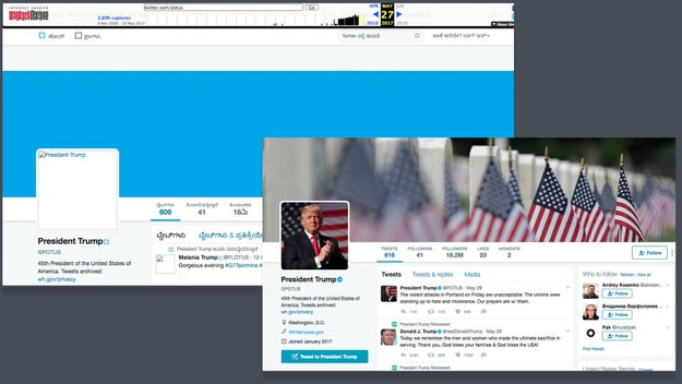 Snapshots from archive.org show Trump's official account, @POTUS, had 18 million followers three days ago compared to today's 18.2 million.