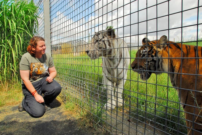 Rosa King, 33, who has died after being mauled by a tiger at Hamerton Zoo, Cambridgeshire.