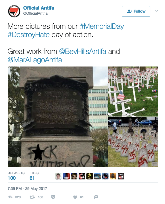 Memorial Day provided an occasion for the fake @OfficialAntifa account to send out tweets that falsely claimed to show the group's desecration of military cemeteries.
