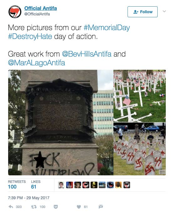 "None of the photos in the above tweet are from Memorial Day 2017, and none of them are related to Antifa campaigns. The ""fuck militarism"" graffiti was done in October 2015, and the image of the knocked-down crosses is from Memorial Day 2016 when a man drove his car through the cemetery. The third image of graves with swastikas spray-painted on them is from a cemetery in France in 2004 — and the graves belong to Muslim soldiers."