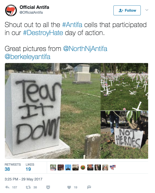 "The photo of the ""tear it down"" graffiti is from North Carolina in 2015. The ""not heroes"" image was also in North Carolina, but it was taken in 2016. In both cases, people spray-painted memorials to Confederate soldiers. The image of knocked-down crosses is from the same 2016 incident in Kentucky referenced in the above tweet."