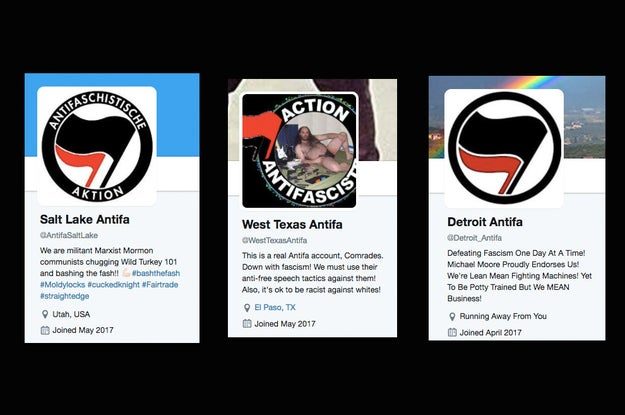 There's recently been a spike in the creation of fake Twitter accounts that claim to be linked to activists in the United States who call themselves anti-fascists or Antifa. Here's what some of the imposter bios look like: