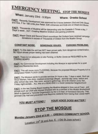 A flyer opposing the mosque.