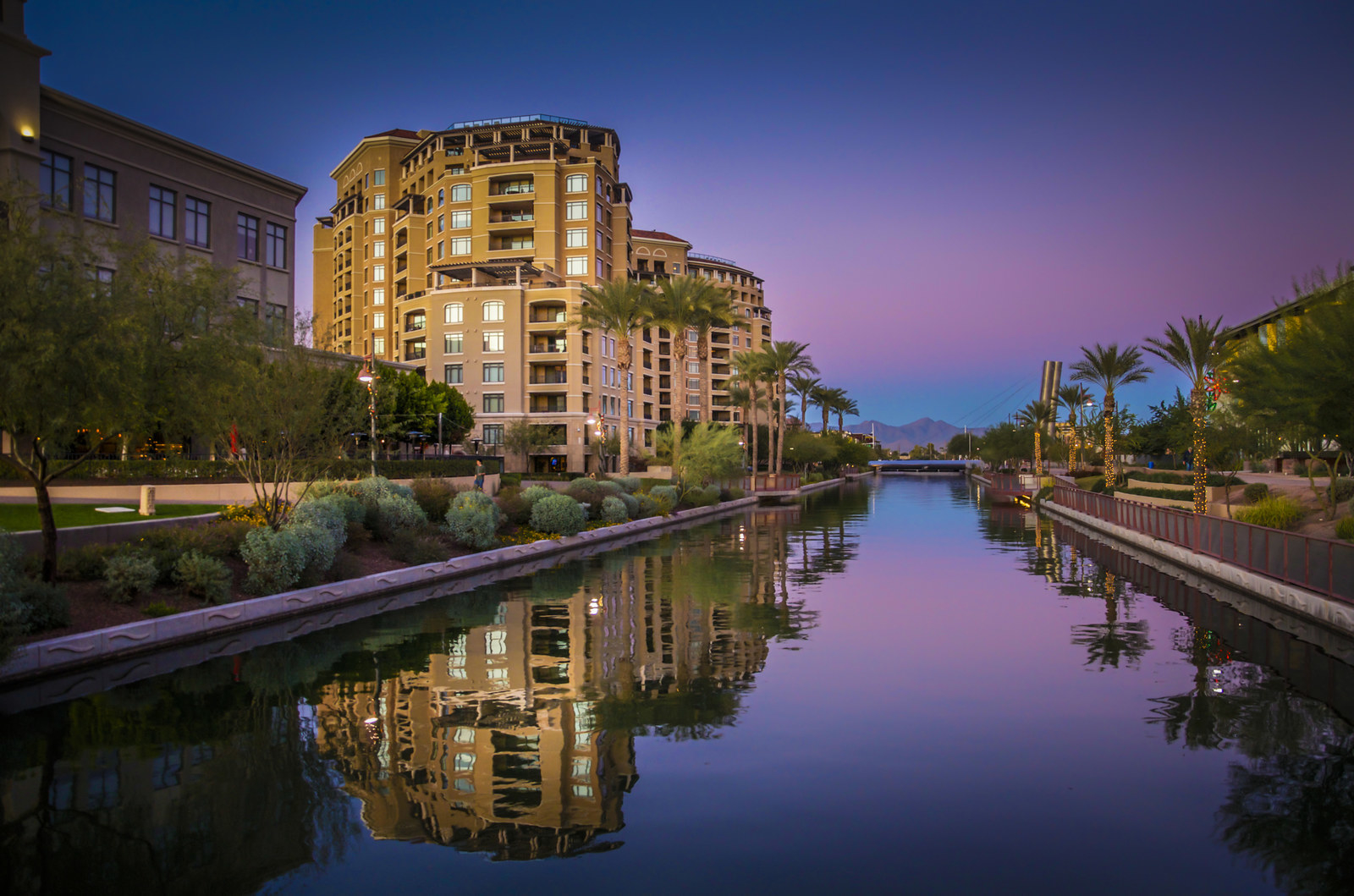Scottsdale, Arizona at sunset.