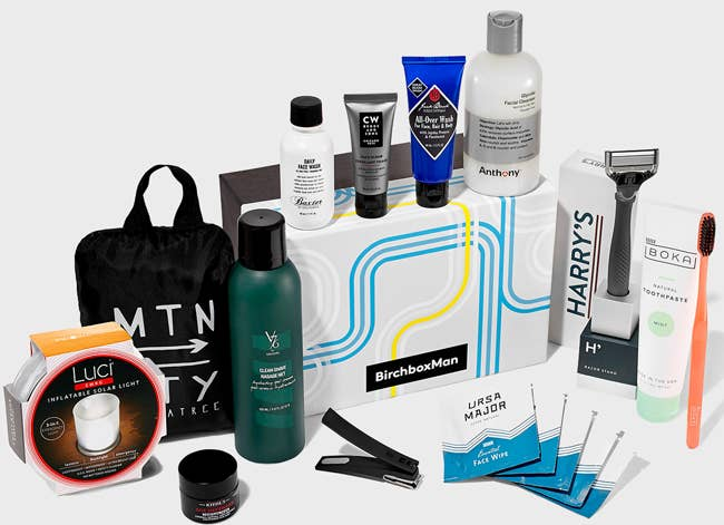 Each month, your box comes with four deluxe grooming samples and one lifestyle product. Subscribe to BirchboxMan for $20 per month. And use the code TESTDRIVE to get a free Mostiruizer Test Drive Kit with your subscription.