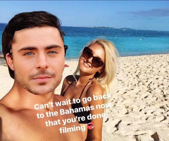 Baylee made a few minor tweaks to the photos, so she could keep sharing them on social media. She cut and pasted Zac Efron's head on her ex's, and honestly, the pics look great.