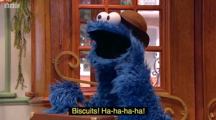 Cookie Monster is a staff member of this hotel. Biscuit Monster appears in an episode that took me about 25 minutes to find on iPlayer because there's more than 50 episodes of this show and he's only in one.