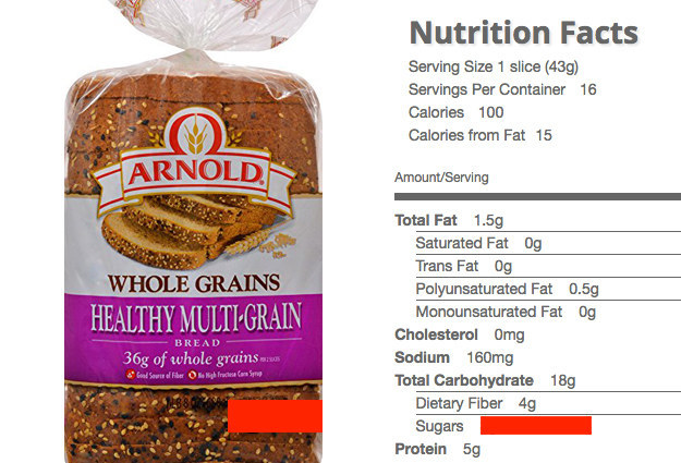 how many calories does whole grain bread have
