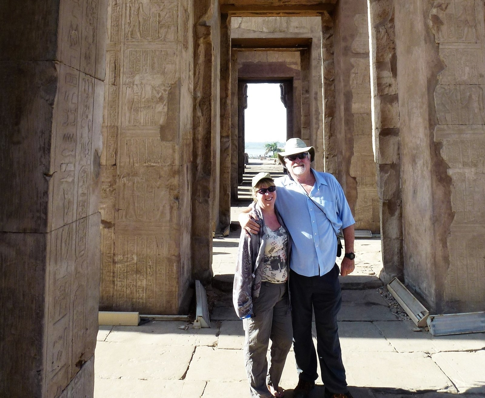 Steffanie Strathdee and Tom Patterson visiting Egyptian pyramids