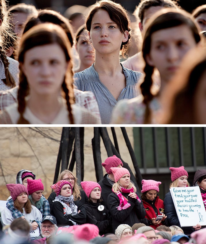 The Hunger Games (top) and demonstrators at the Women's March on Washington in matching pink hats.
