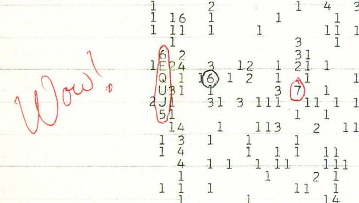 "It was August 1977 and astronomer Jerry Ehman was looking through computer readouts from a telescope tasked with searching for possible alien signals when something rare happened: He actually found something.The Big Ear telescope, based at Ohio State University, had been pointing at a star called Chi Sagittarii as part of an experiment to search for extraterrestrial intelligence (SETI).Ehman was volunteering with the SETI programme at the time, and one evening he was poring over the printouts when saw a string of numbers and letters: ""6EQUJ5"".To this day that sequence is considered by many to be the best candidate for an extraterrestrial signal we've ever seen. Named the ""Wow! signal"" after what Ehman wrote on the printout, it was a burst of narrowband radio waves at a frequency of 1,420 megahertz. For the most part, natural sources, like galaxies and stars, are what's called ""wideband"" radio sources. ""Narrowband"" sources, like the signal Ehman had found, tend to be human made. In the years since, people have tried to explain it in various ways. In fact, last year, astronomer Antonio Paris of St Petersburg College, Florida, did come up with a more run-of-the-mill explanation. He found two comets, called 266P/Christensen and 335P/Gibbs and not discovered until years later, that would have been in the observing area on the night the Wow! signal was recorded. Comets tend to release a lot of hydrogen, and 1,420 megahertz is one of the main frequencies with which atoms of hydrogen absorb and emit energy. But the jury is still out on whether this explanation fits."