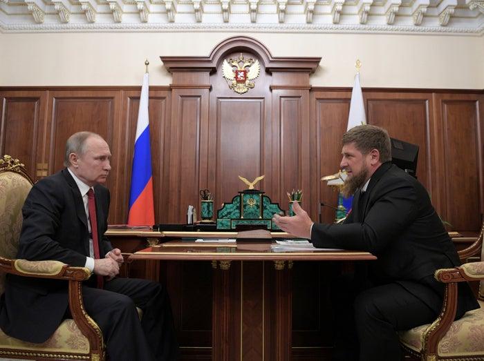 Putin meets with Chechnya's leader, Ramzan Kadyrov, at the Kremlin.
