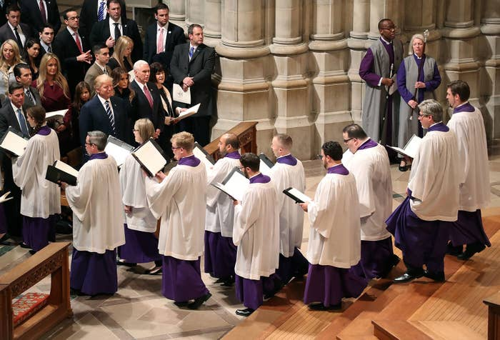 Donald Trump at the National Cathedral on Jan. 21.