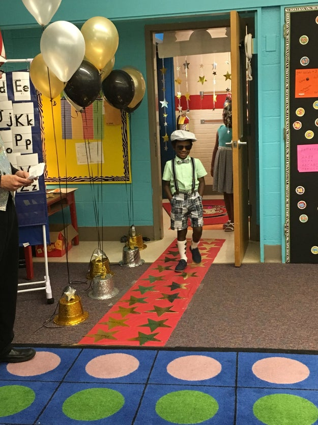 When they got to the classroom, each student walked the red carpet as their parents cheered them on.