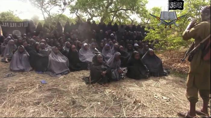 A photo allegedly shows kidnapped girls on May 12, 2014, in Nigeria.
