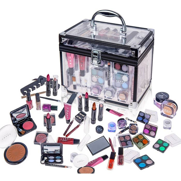 The set includes: eyeshadows, blushes, nail polishes, brushes, manicure accessories, lip glosses, etc.Get it for $31.89 ($18.06 off the list price).