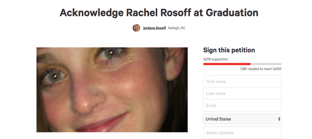 "A petition to get the school to acknowledge her during graduation has gotten more than 3,000 signatures as of Monday. Her sister, Jordana Rosoff, said she started the petition because the school wanted ""to pretend [Rachel] did not exist."""