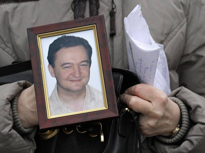 Portrait of lawyer Sergei Magnitsky, who died in a Russian prison in 2009.