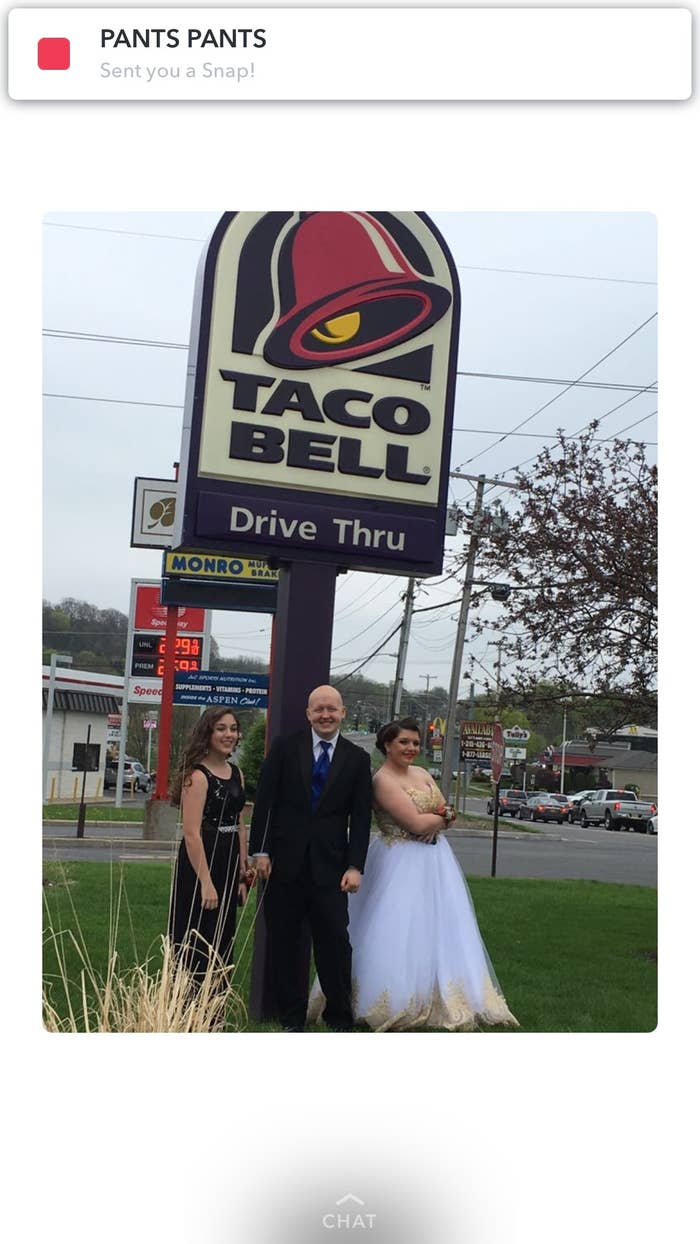 I donned my gown, Mikey put on his tux, my friend Jen, who I brought to prom, wore her dress. Mikey's sister tagged along too.